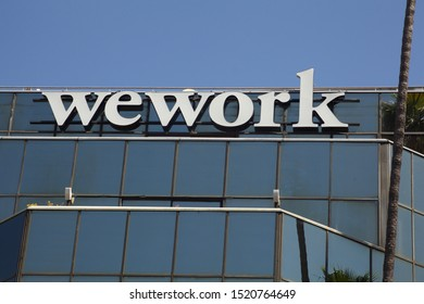 Los Angeles: August 29, 2019: sign for Wework shared workspace office on Hollywood Blvd.