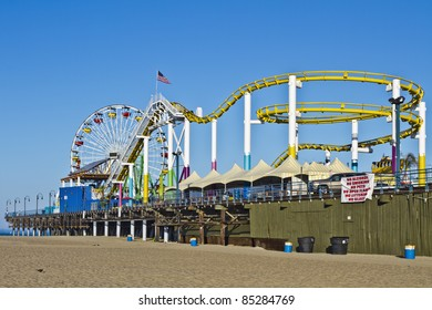 LOS ANGELES - August 3: The amusement park on the Santa Monica Pier in Santa Monica, California on August 3, 2011. A popular tourist attraction, the Pier is a familiar setting for many movies.