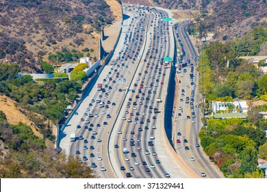 Los Angeles with busy freeway