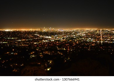 Los Angeles by night. City lights, view from Griffith Observatory.