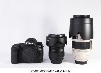 Los Angeles, CA: 1/11/2018 - Canon 5D MARK IV DSLR camera body with 24-70mm F2.8L II lens and 70-200mm F2.8L IS II lens isolated on white background.