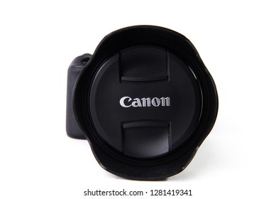 Los Angeles, CA: 1/11/2018 - Canon 5D MARK IV DSLR camera with cap from front isolated on white background.