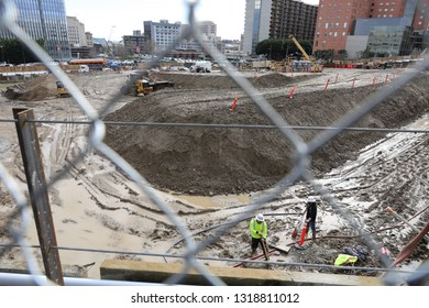 Los Angeles, CA - 1/20/2019: Construction site right in front of world famous Disney Hall in Los Angeles, CA.