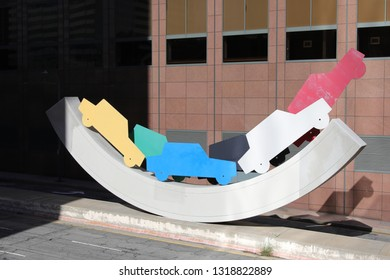 "Los Angeles, CA - 1/20/2019:  Downtown LA Public Art: ""Uptown Rocker"". 1986. By Lloyd Hamrol"