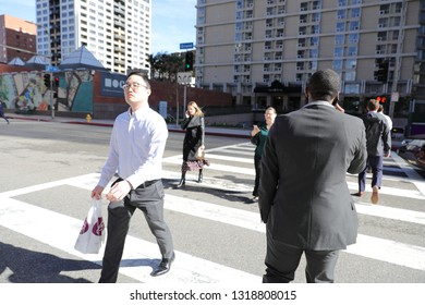 Los Angeles, CA -1/20/2019: Random street scene in Downtown of Los Angeles, CA