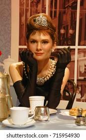 LOS ANGELES, CA - 28 Oct, 2013: Audrey Hepbern wax figure in Madame Tussaud's museum.