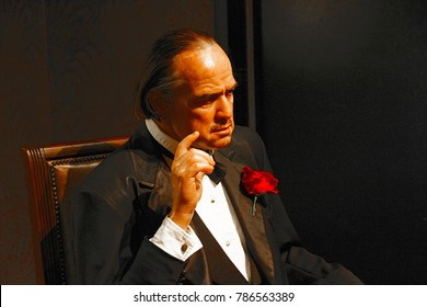 LOS ANGELES, CA - 28 Oct, 2013: Waxwork of Marlon Brando as Godfather Don Vito Corleone,Marlon Brando waxwork figure - Madame Tussauds Hollywood.