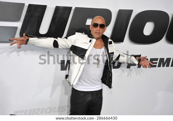 """LOS ANGELES, CA - APRIL 1, 2015: Vin Diesel at the world premiere of his movie """"Furious 7"""" at the TCL Chinese Theatre, Hollywood. April 1, 2015  Los Angeles, CA"""