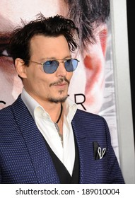 """LOS ANGELES, CA - APRIL 10, 2014: Johnny Depp at the Los Angeles premiere of his movie """"Transcendence"""" at the Regency Village Theatre, Westwood."""