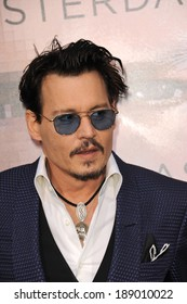 "LOS ANGELES, CA - APRIL 10, 2014: Johnny Depp at the Los Angeles premiere of his movie ""Transcendence"" at the Regency Village Theatre, Westwood."