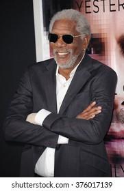 "LOS ANGELES, CA - APRIL 10, 2014: Morgan Freeman at the Los Angeles premiere of his movie ""Transcendence"" at the Regency Village Theatre, Westwood."