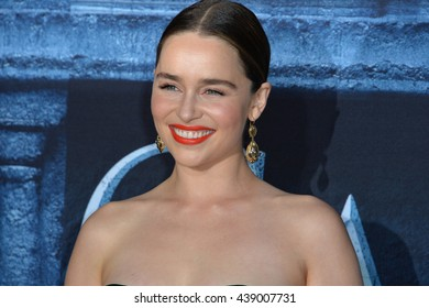 LOS ANGELES, CA. April 10, 2016: Actress Emilia Clarke at the season 6 premiere of Game of Thrones at the TCL Chinese Theatre, Hollywood.