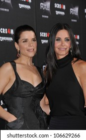 "LOS ANGELES, CA - APRIL 11, 2011: Neve Campbell; Courteney Cox (right) at the world premiere of their new movie ""Scream 4"" at Grauman's Chinese Theatre, Hollywood, April 11, 2011  Los Angeles, CA"