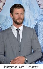 "LOS ANGELES, CA. April 11, 2016: Chris Hemsworth at the US premiere of ""The Huntsman: Winter's War"" at the Regency Village Theatre, Westwood."