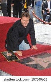 LOS ANGELES, CA - APRIL 12, 2010: Russell Crowe on Hollywood Boulevard where he was honored with the 2,404th star on the Hollywood Walk of Fame.