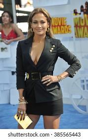 LOS ANGELES, CA - APRIL 12, 2015: Jennifer Lopez at the 2015 MTV Movie Awards at the Nokia Theatre LA Live.