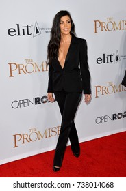"LOS ANGELES, CA. April 12, 2017: Reality star Kourtney Kardashian at the premiere for ""The Promise"" at the TCL Chinese Theatre, Hollywood."