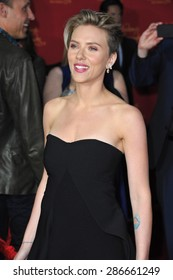 "LOS ANGELES, CA - APRIL 13, 2015: Scarlett Johansson at the world premiere of her movie ""Avengers: Age of Ultron"" at the Dolby Theatre, Hollywood."
