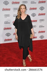 "LOS ANGELES, CA - APRIL 13, 2015: Julie Delpy at the world premiere of ""Avengers: Age of Ultron"" at the Dolby Theatre, Hollywood."