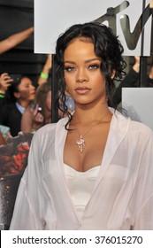 LOS ANGELES, CA - APRIL 13, 2014: Rihanna at the 2014 MTV Movie Awards at the Nokia Theatre LA Live.