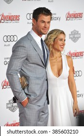 "LOS ANGELES, CA - APRIL 13, 2015: Chris Hemsworth & wife Elsa Pataky at the world premiere of his movie ""Avengers: Age of Ultron"" at the Dolby Theatre, Hollywood."