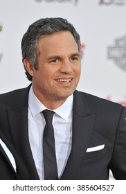 """LOS ANGELES, CA - APRIL 13, 2015: Mark Ruffalo at the world premiere of his movie """"Avengers: Age of Ultron"""" at the Dolby Theatre, Hollywood."""