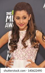 LOS ANGELES, CA - APRIL 14, 2013: Ariana Grande at the 2013 MTV Movie Awards at Sony Studios, Culver City.