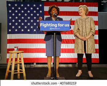 LOS ANGELES, CA - APRIL 16, 2016: US Democratic Presidential candidate Hillary Clinton campaigns with Maxine Waters at Southwest College, Los Angeles, CA
