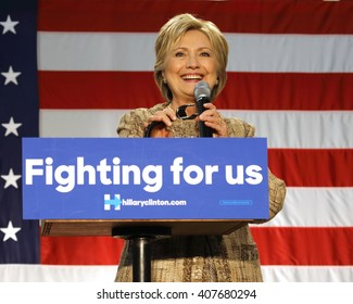 LOS ANGELES, CA - APRIL 16, 2016: US Democratic Presidential candidate Hillary Clinton smiles while campaigning at Southwest College, Los Angeles, CA