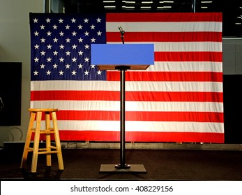 LOS ANGELES, CA - APRIL 16, 2016: Empty Podium & US Flag reads at Southwest College, Los Angeles, CA