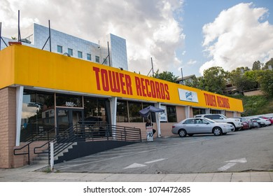 Los Angeles, CA: April 19, 2018: Tower Records store sign in Los Angeles.   Tower Records was a retail music chain that went out of business in 2006.