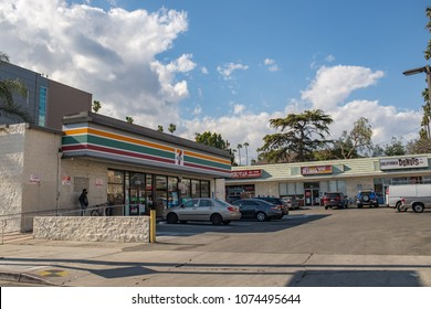 Los Angeles, CA: April 19, 2018: A strip mall in the Los Angeles area.  Strip Malls are a very common form of architecture in the Los Angeles area.