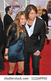 "LOS ANGELES, CA - APRIL 2, 2009: Miley Cyrus & father Billy Ray Cyrus at the world premiere of their new movie ""Hannah Montana The Movie"" at the El Capitan Theatre, Hollywood."