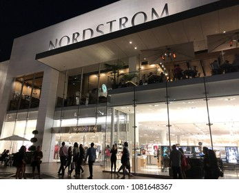 Los Angeles, CA: April 22, 2018: Exterior of a Nordstrom theater.  Nordstrom is a fashion retailer.