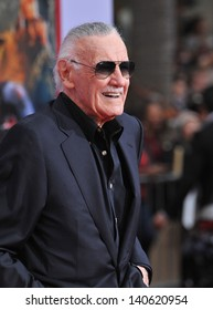 """LOS ANGELES, CA - APRIL 24, 2013: Stan Lee at the Los Angeles premiere of his movie """"Iron Man 3"""" at the El Capitan Theatre, Hollywood."""