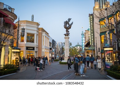 Los Angeles, CA: April 30, 2018:  Exterior of  The Grove shopping mall in Los Angeles. The Grove opened to the public in 2002.