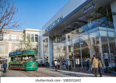Los Angeles, CA: April 30, 2018:  Nordstrom store at The Grove shopping mall in the Los Angeles area. Nordstrom is a luxury fashion retailer that was founded in 1901.