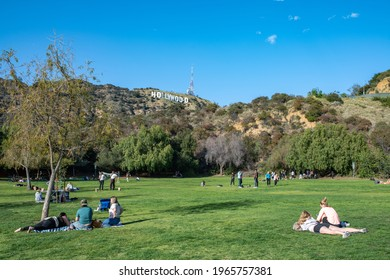 Los Angeles, CA: April 30, 2021:  Lake Hollywood Park in Los Angeles. Lake Hollywood Park offers a close up view of the Hollywood sign.