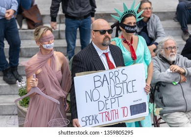 LOS ANGELES, CA - APRIL 4, 2019: Protesters gather at LA City Hall to protest the release of the Speical Counsel's report.