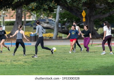 Los Angeles, CA: April 7, 2021: UCLA students enjoying recreational activities on the UCLA campus.  UCLA is a public university in the state of California.