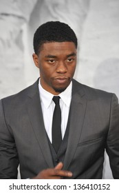 "LOS ANGELES, CA - APRIL 9, 2013: Chadwick Boseman at the Los Angeles premiere of his new movie ""42: The True Story of An American Legend"" at the Chinese Theatre, Hollywood. Picture: Jaguar"