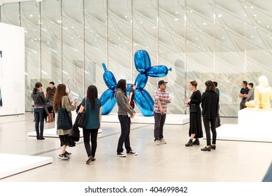 LOS ANGELES, CA - APRIL 9, 2016: Balloon Dog by Jeff Koons at The Broad Contemporary Art Museum on April 9, 2016 in Los Angeles, California, USA.