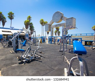 LOS ANGELES, CA - AUG 14:  Muscle Beach gym on Venice Beach, CA on Aug 14, 2012. Muscle Beach is a  landmark, outdoor gym dating back to the 1930's where celebrities and famous bodybuilders trained.