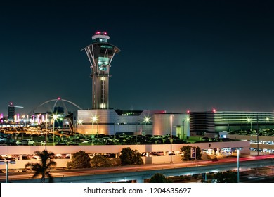LOS ANGELES, CA - Aug 3, 2018 The airport control tower watches over air traffic at LAX at night