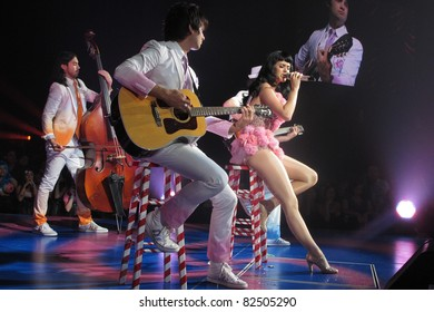 "LOS ANGELES, CA - AUGUST 05: Katy Perry performs during the American leg of her ""California Dreams Tour 2011"" at the NOKIA Theatre L.A. LIVE on August 5, 2011 in Los Angeles, California."