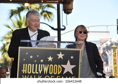 LOS ANGELES, CA - AUGUST 1, 2011: Sissy Spacek & director David Lynch on Hollywood Boulevard where she was honored with the 2,443rd star on the Hollywood Walk of Fame. August 1, 2011  Los Angeles, CA