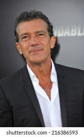 """LOS ANGELES, CA - AUGUST 11, 2014: Antonio Banderas at the Los Angeles premiere of his movie """"The Expendables 3"""" at the TCL Chinese Theatre, Hollywood."""