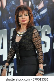 """LOS ANGELES, CA - AUGUST 11, 2014: Jackie Stallone (mother of Sylvester Stallone) at the Los Angeles premiere of """"The Expendables 3"""" at the TCL Chinese Theatre, Hollywood."""