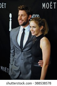 LOS ANGELES, CA - AUGUST 13, 2015: Emily Blunt & husband John Krasinski at the Hollywood Foreign Press Association's Grants Banquet at the Beverly Wilshire Hotel.