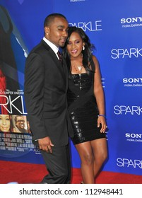 """LOS ANGELES, CA - AUGUST 16, 2012: Bobbi Kristina Brown (daughter of the late Whitney Houston) & Nick Gordon at the premiere """"Sparkle"""" at Grauman's Chinese Theatre, Hollywood."""